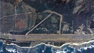 Aerial shot of the Dillingham Airfield in Oahu, Hawaii where nine people died in a fiery crash on Friday evening local time.