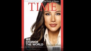 Unreal: Mina Chang and her fake Time magazine cover.