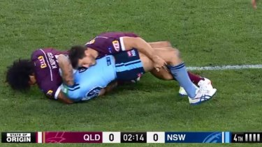The tackle goes for at least five seconds with Kaufusi in contact with Vaughan's head the entire time.