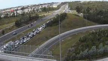 The northbound congestion on the Bruce Highway at Narangba, near the Boundary Road interchange.