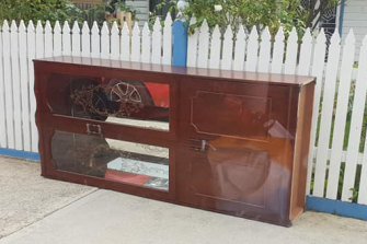 """Someone save this! Not mine, crusher a block away,"" wrote a woman about this cabinet on the Hard Rubbish Rescue - Moreland Facebook page."
