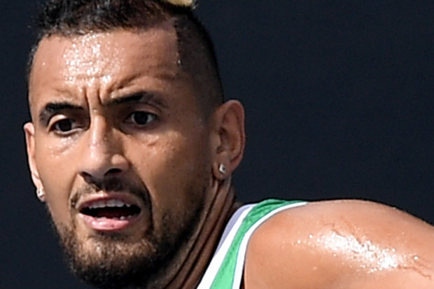 Kyrgios practises on Wednesday ahead of Thursday's second round match at the Australian Open.