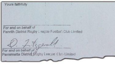 Eels chief executive Denis Fitzgerald had signed the document, but there is no Panthers signature to ratify the deal.