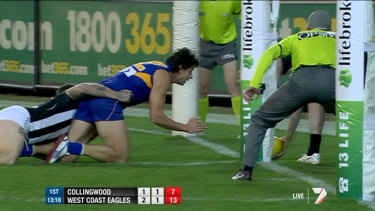 Line-ball call: A video review in the AFL.