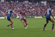 Josh Schuster sets up a try for Manly against Parramatta in May.