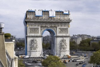Arc de Triomphe's Christo wrapping is unfurled