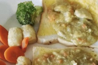Photos of meals served at aged care homes.