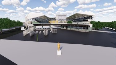 Indicative location of the statue in the northern entry plaza of the stadium.