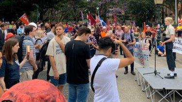 Hundreds of people gathered at Parliament in Brisbane.