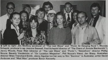 Jenny Woods with film industry colleagues, date not known.