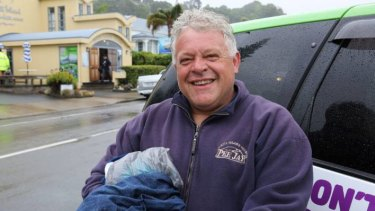 Brendan Paterson in Whakatāne on January 18 after Hayden Marshall-Inman plucked him and his son from the sea.