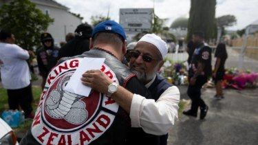 Members of the King Cobra gang were greeted warmly as they paid their respects to senior members of the Al-Jamie Mosque in the Auckland suburb of Ponsonby on Saturday.