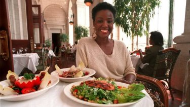 B. Smith poses at her restaurant, B. Smith's, in Washington, DC's Union Station in this 1994 photo.