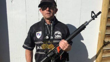 Phill Dunlop of Carterton with his competition semi-automatic rifle at Gladstone Rifle Range.