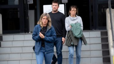 Sean McKinnon's siblings Emmeline, Lachlan and Mary McKinnon leave the Hamilton District Court on Saturday.