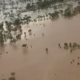 Floodwaters in south-western Queensland after a line of storms swept the region at the weekend.