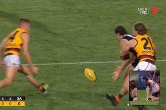 David Mackay bumps Hunter Clark.