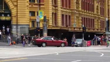 James Gargasoulas at the intersection of Flinders and Swanston streets, before he drove along Bourke Street on January 20, 2017.