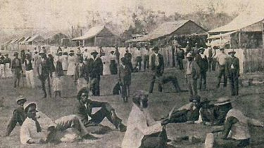 Deebing Creek mission in 1903, shown on a postcard to a Toowoomba family.