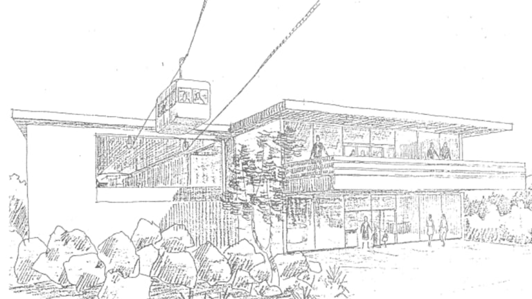An artist's impression of the proposed cable car or aerial gondola system on Black Mountain.