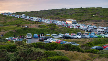 Traffic congestion caused by the number of tourists visiting the Twelve Apostles at Port Campbell taken earlier this year.