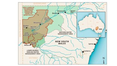 Map of western NSW showing the Barkandji Traditional Owners' native title claim area and the water management areas it traverses. (Thick brown line denotes boundary of the area claimed by the Barkandji People.)  From an article in Resources journal, February 2018 by Lana D. Hartwig, Sue Jackson and Natalie Osborne.