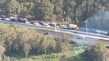 The scene of a crash involving a truck and motorbikeat Bracken Ridge on the Gateway Motorway.