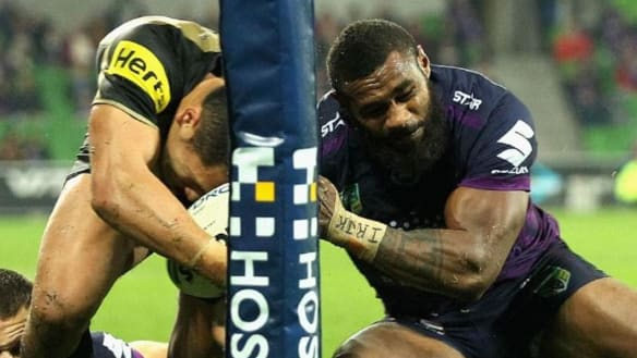 Free Billy: this tackle convinces the Storm that Slater should get grand final farewell