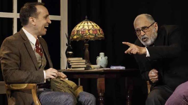 Yannick Lawry (left) as CS Lewis and Nicholas Papademetriou as Freud inFreud's Last Session at the Seymour Centre.