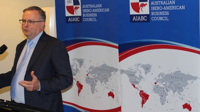 Anthony Albanese speaking at the Australian Ibero American Business Council launch event at Parliament House.