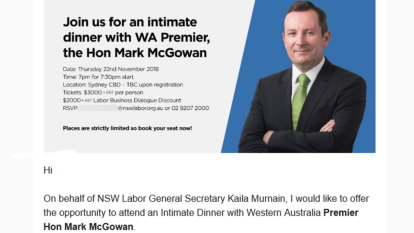 Mark McGowan under fire for taxpayer-funded 'intimate dinner'