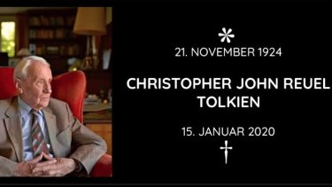The German Tolkien Society's announcement of the death of Christopher Tolkien, who like his father, spent his life surrounded by literature.