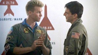Val Kilmer as Ice Man and Tom Cruise in Top Gun.