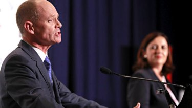 Former premier Campbell Newman and then Opposition leader Annastacia Palaszczuk at a Leaders Debate.