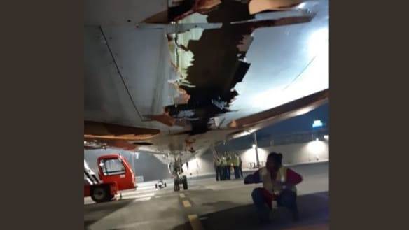 Boeing 737 flies into brick wall, keeps going with damaged underbelly
