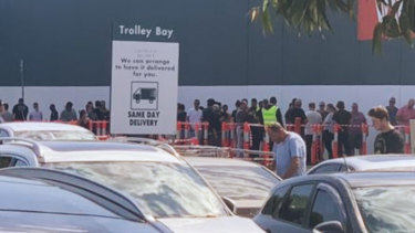 The scene outside another Bunnings in Melbourne's north on Saturday.