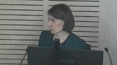 Premier Gladys Berejiklian gives evidence at ICAC on Monday.
