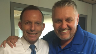 Former prime minister Tony Abbott and conservative radio host Ray Hadley.