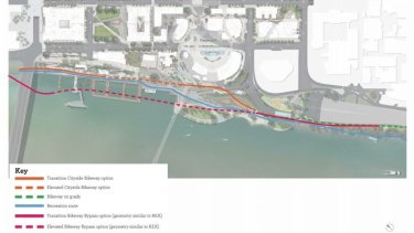 An indicative path of where an elevated bikeway could be built.