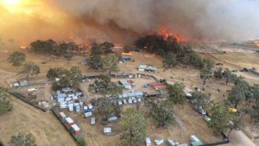 Fire burned through the grounds of the Rainbow Serpent Festival and threatened nearby Lexton.