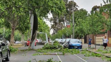 A roof came off a building in Melrose Street, North Melbourne.