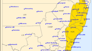 A severe thunderstorm warning is in place for large hailstones, heavy rainfall and damaging winds on Wednesday afternoon.