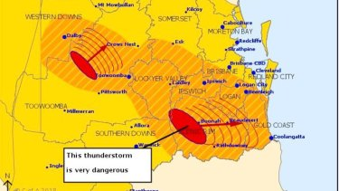 A dangerous thunderstorm was moving east toward the Gold Coast on Friday evening.