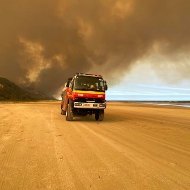 The bushfire was tackled on the ground and from the air.