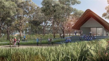 Artist impression of the exhibition pavilion to built at the meeting place precinct at Kurnell to commemorate Captain Cook's landing in Australia.