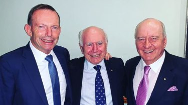 Alan Jones with two former Prime Ministers, Tony Abbott (left) and John Howard (middle).
