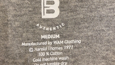 A Buddy Franklin Authentic T-shirt label.