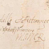 Detail of another exhibit showing Mary, Queen of Scots' signature.