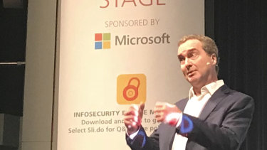 Robert Hannigan, former director-general of GCHQ, gives a keynote speech at the Infosecurity Europe 2018 conference