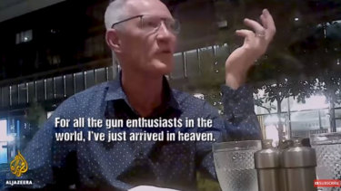 One Nation's Queensland leader Steve Dickson appears in an al-Jazeera video seeking donations from the US pro-gun lobby.